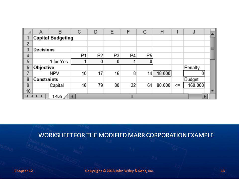 WORKSHEET FOR THE MODIFIED MARR CORPORATION EXAMPLE Chapter 12Copyright © 2013 John Wiley & Sons, Inc.13