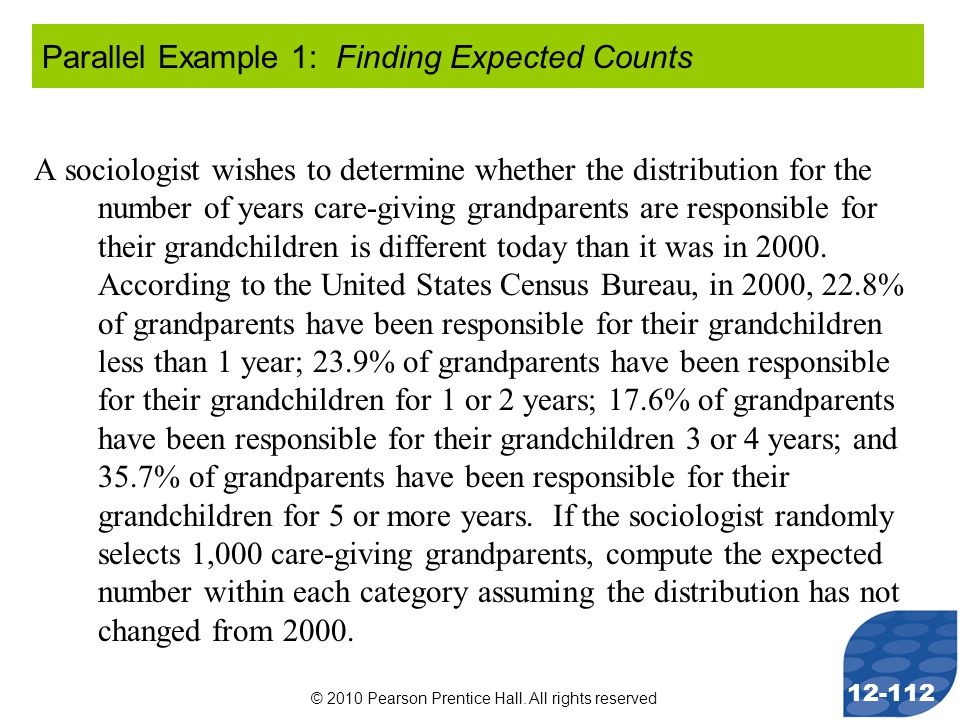 © 2010 Pearson Prentice Hall. All rights reserved 12-112 A sociologist wishes to determine whether the distribution for the number of years care-givin