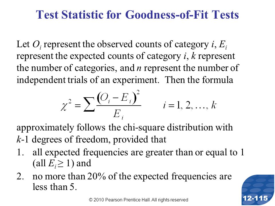 © 2010 Pearson Prentice Hall. All rights reserved 12-115 Test Statistic for Goodness-of-Fit Tests Let O i represent the observed counts of category i,