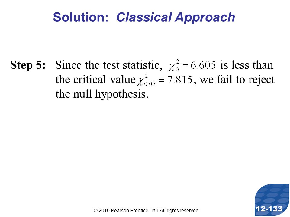 © 2010 Pearson Prentice Hall. All rights reserved 12-133 Step 5: Since the test statistic, is less than the critical value, we fail to reject the null