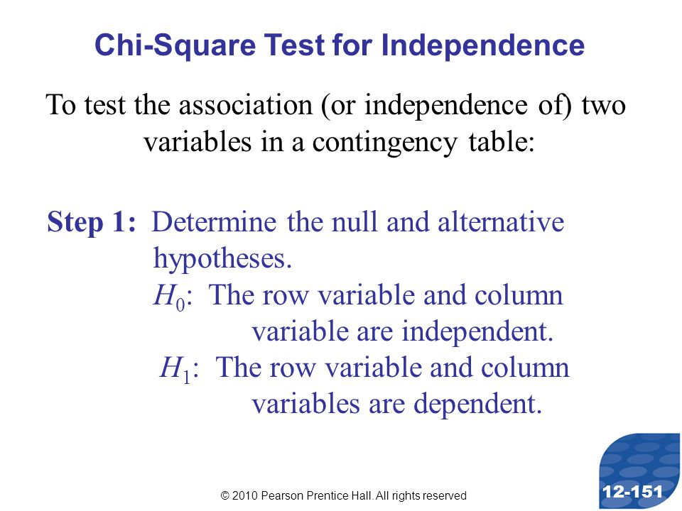 © 2010 Pearson Prentice Hall. All rights reserved 12-151 Step 1: Determine the null and alternative hypotheses. H 0 : The row variable and column vari
