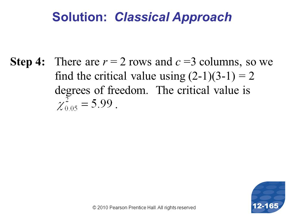 © 2010 Pearson Prentice Hall. All rights reserved 12-165 Step 4: There are r = 2 rows and c =3 columns, so we find the critical value using (2-1)(3-1)