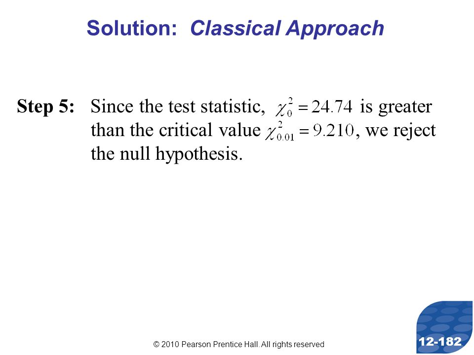© 2010 Pearson Prentice Hall. All rights reserved 12-182 Step 5: Since the test statistic, is greater than the critical value, we reject the null hypo