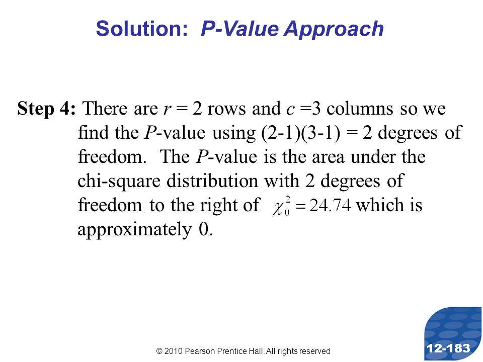 © 2010 Pearson Prentice Hall. All rights reserved 12-183 Step 4: There are r = 2 rows and c =3 columns so we find the P-value using (2-1)(3-1) = 2 deg