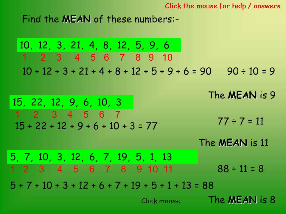 MEAN Find the MEAN of these numbers:- Click the mouse for help / answers 10, 12, 3, 21, 4, 8, 12, 5, 9, 6 10 + 12 + 3 + 21 + 4 + 8 + 12 + 5 + 9 + 6 =