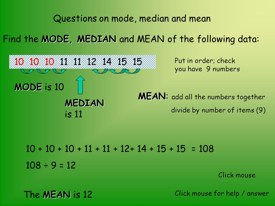 Questions on mode, median and mean MODE, MEDIAN Find the MODE, MEDIAN and MEAN of the following data: 14 15 11 12 10 11 10 15 Click mouse for help / a