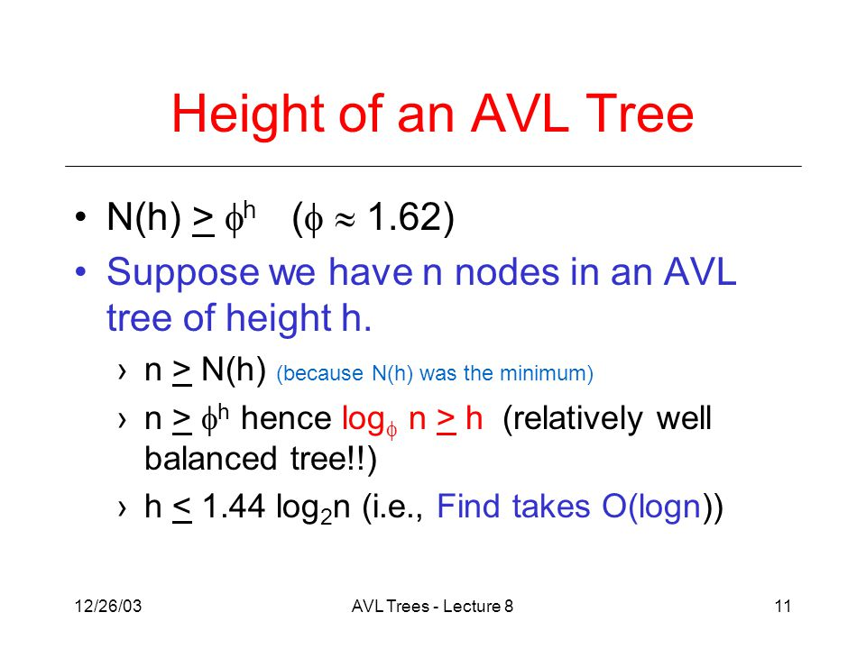 12/26/03AVL Trees - Lecture 811 Height of an AVL Tree N(h) >  h (   1.62) Suppose we have n nodes in an AVL tree of height h.