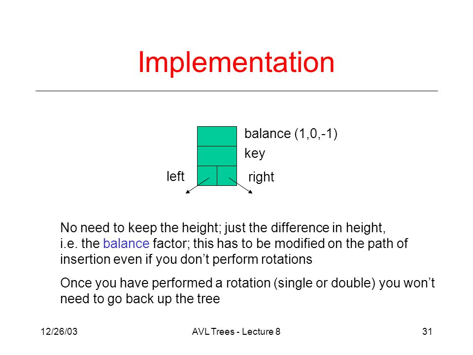 12/26/03AVL Trees - Lecture 831 Implementation balance (1,0,-1) key right left No need to keep the height; just the difference in height, i.e.
