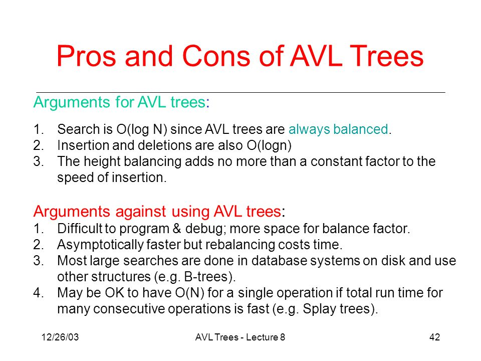 12/26/03AVL Trees - Lecture 842 Arguments for AVL trees: 1.Search is O(log N) since AVL trees are always balanced.