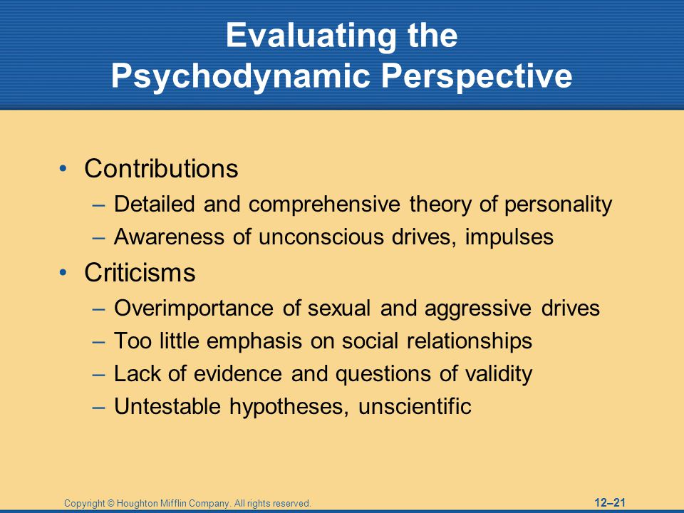 Copyright © Houghton Mifflin Company. All rights reserved. 12–21 Evaluating the Psychodynamic Perspective Contributions –Detailed and comprehensive th