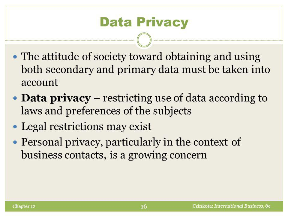 Chapter 12 The attitude of society toward obtaining and using both secondary and primary data must be taken into account Data privacy – restricting us