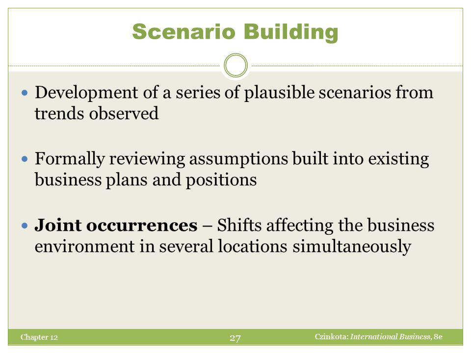 Scenario Building Chapter 12 Development of a series of plausible scenarios from trends observed Formally reviewing assumptions built into existing bu