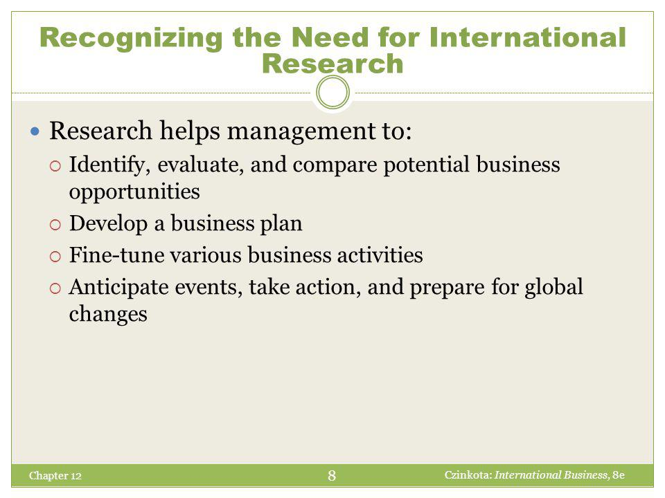 Chapter 12 Research helps management to:  Identify, evaluate, and compare potential business opportunities  Develop a business plan  Fine-tune various business activities  Anticipate events, take action, and prepare for global changes 8 Czinkota: International Business, 8e Recognizing the Need for International Research