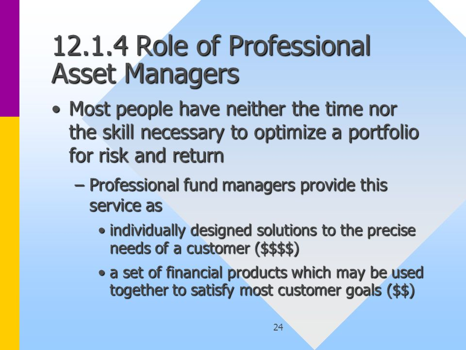 24 12.1.4 Role of Professional Asset Managers Most people have neither the time nor the skill necessary to optimize a portfolio for risk and returnMost people have neither the time nor the skill necessary to optimize a portfolio for risk and return –Professional fund managers provide this service as individually designed solutions to the precise needs of a customer ($$$$)individually designed solutions to the precise needs of a customer ($$$$) a set of financial products which may be used together to satisfy most customer goals ($$)a set of financial products which may be used together to satisfy most customer goals ($$)