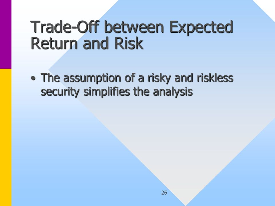 26 Trade-Off between Expected Return and Risk The assumption of a risky and riskless security simplifies the analysisThe assumption of a risky and riskless security simplifies the analysis