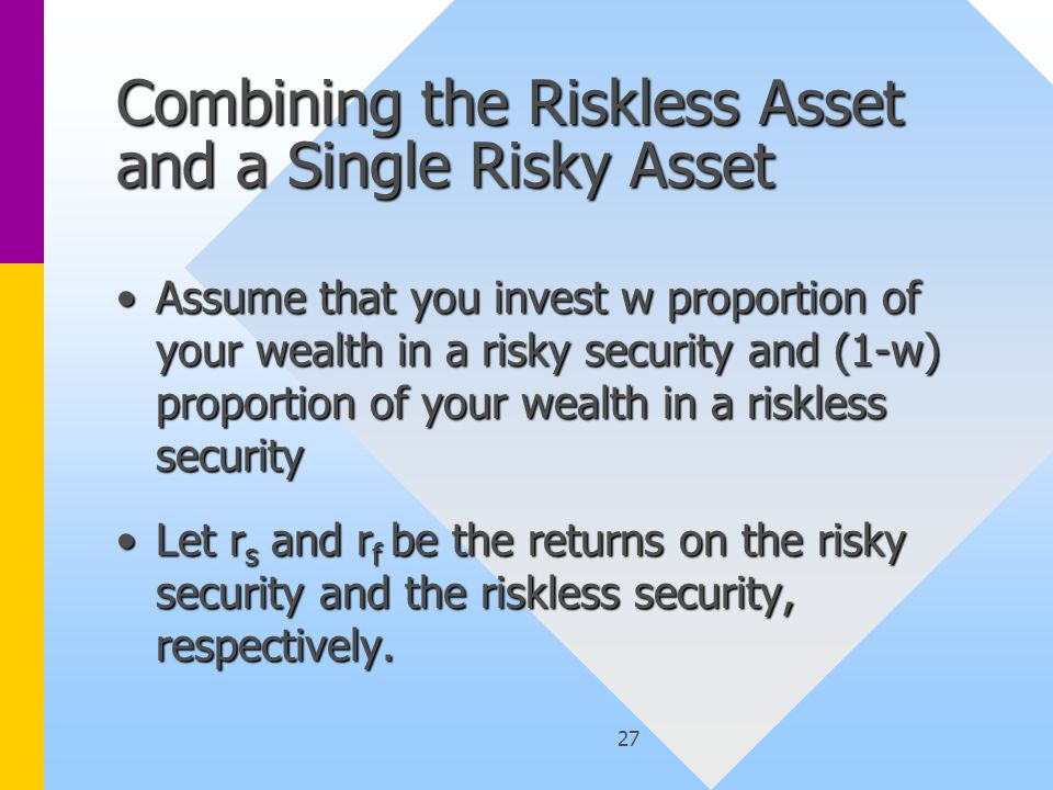 27 Combining the Riskless Asset and a Single Risky Asset Assume that you invest w proportion of your wealth in a risky security and (1-w) proportion of your wealth in a riskless securityAssume that you invest w proportion of your wealth in a risky security and (1-w) proportion of your wealth in a riskless security Let r s and r f be the returns on the risky security and the riskless security, respectively.Let r s and r f be the returns on the risky security and the riskless security, respectively.