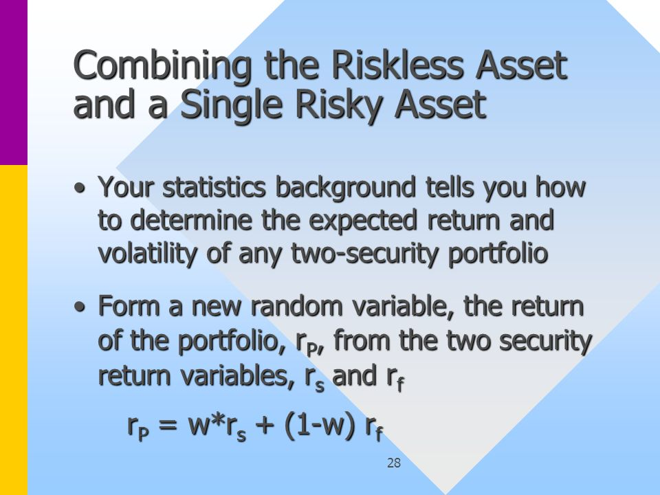 28 Combining the Riskless Asset and a Single Risky Asset Your statistics background tells you how to determine the expected return and volatility of any two-security portfolioYour statistics background tells you how to determine the expected return and volatility of any two-security portfolio Form a new random variable, the return of the portfolio, r P, from the two security return variables, r s and r fForm a new random variable, the return of the portfolio, r P, from the two security return variables, r s and r f r P = w*r s + (1-w) r f r P = w*r s + (1-w) r f