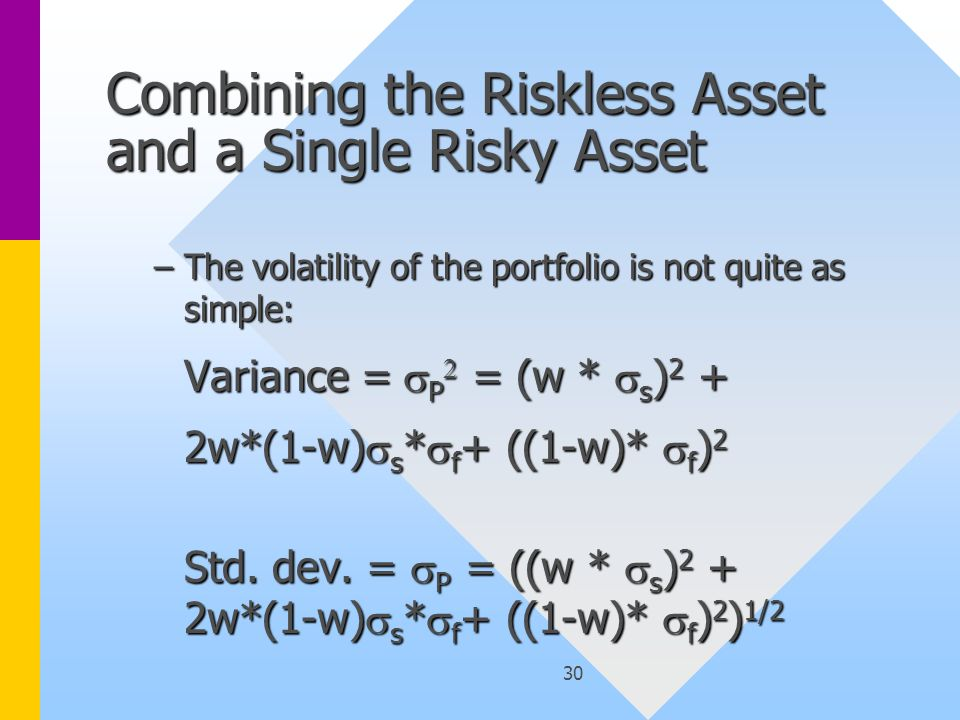 30 Combining the Riskless Asset and a Single Risky Asset –The volatility of the portfolio is not quite as simple: Variance =  P  = (w *  s ) 2 + Variance =  P  = (w *  s ) 2 + 2w*(1-w)  s *  f + ((1-w)*  f ) 2 2w*(1-w)  s *  f + ((1-w)*  f ) 2 Std.