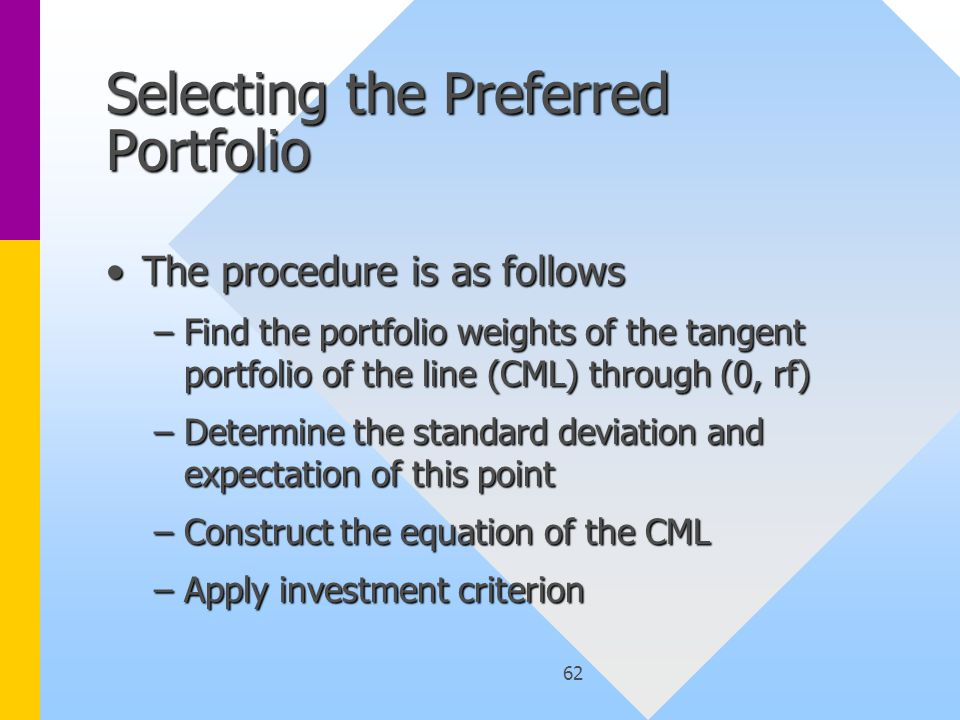 62 Selecting the Preferred Portfolio The procedure is as followsThe procedure is as follows –Find the portfolio weights of the tangent portfolio of the line (CML) through (0, rf) –Determine the standard deviation and expectation of this point –Construct the equation of the CML –Apply investment criterion