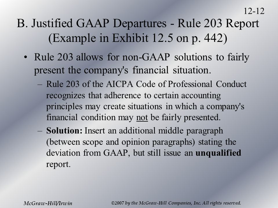 12-12 McGraw-Hill/Irwin ©2007 by the McGraw-Hill Companies, Inc. All rights reserved. B. Justified GAAP Departures - Rule 203 Report (Example in Exhib