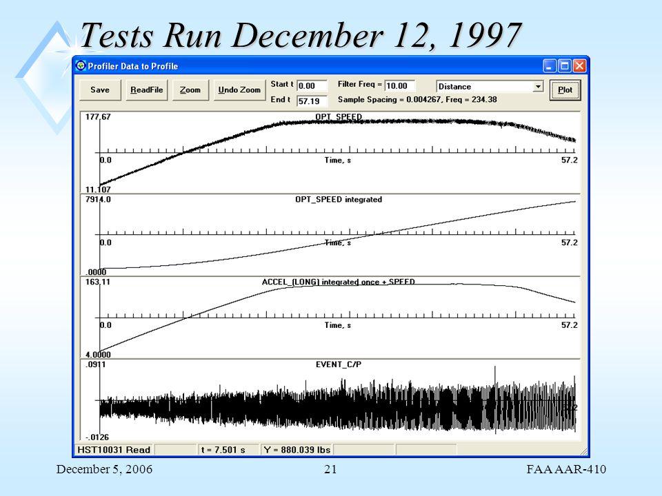 FAA AAR-410 December 5, 200621 Tests Run December 12, 1997