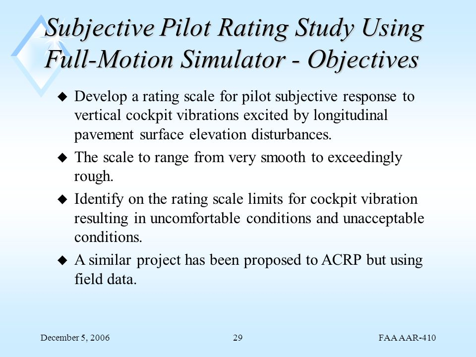 FAA AAR-410 December 5, 200629 Subjective Pilot Rating Study Using Full-Motion Simulator - Objectives u Develop a rating scale for pilot subjective re