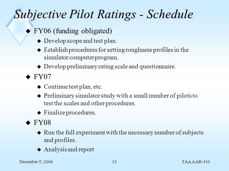 FAA AAR-410 December 5, 200633 Subjective Pilot Ratings - Schedule u FY06 (funding obligated) u Develop scope and test plan.