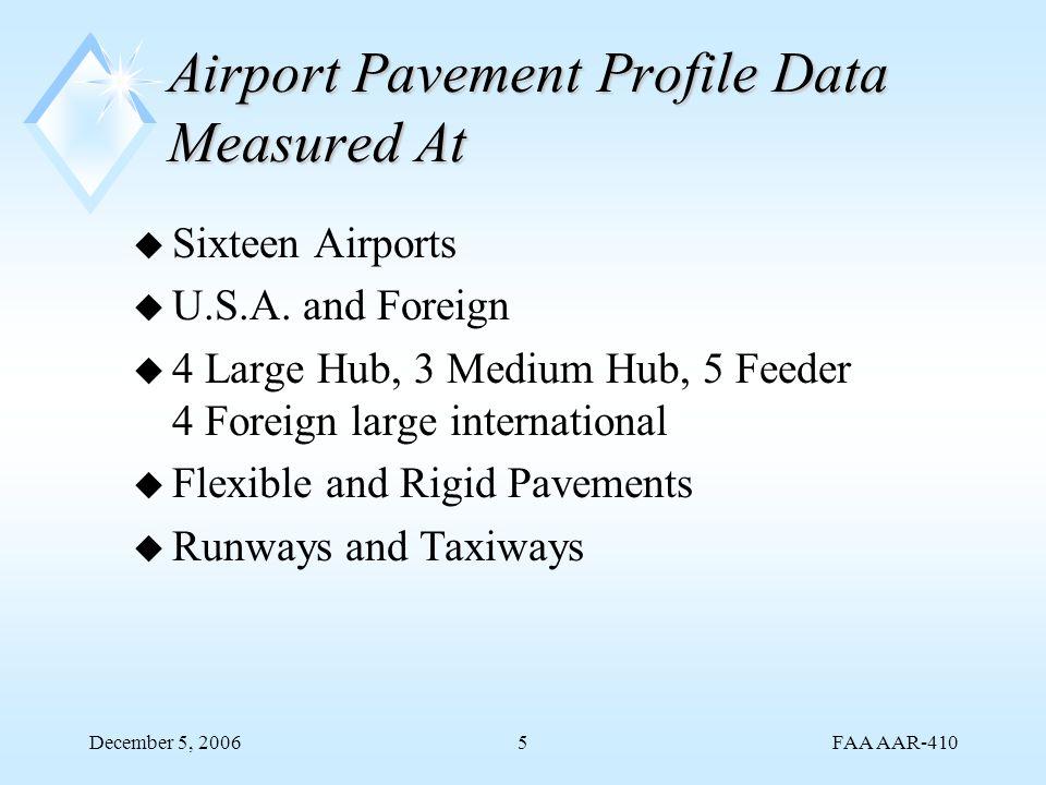 FAA AAR-410 December 5, 20065 Airport Pavement Profile Data Measured At u Sixteen Airports u U.S.A.