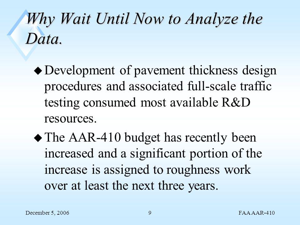 FAA AAR-410 December 5, 200620 Tests Run December 12, 1997