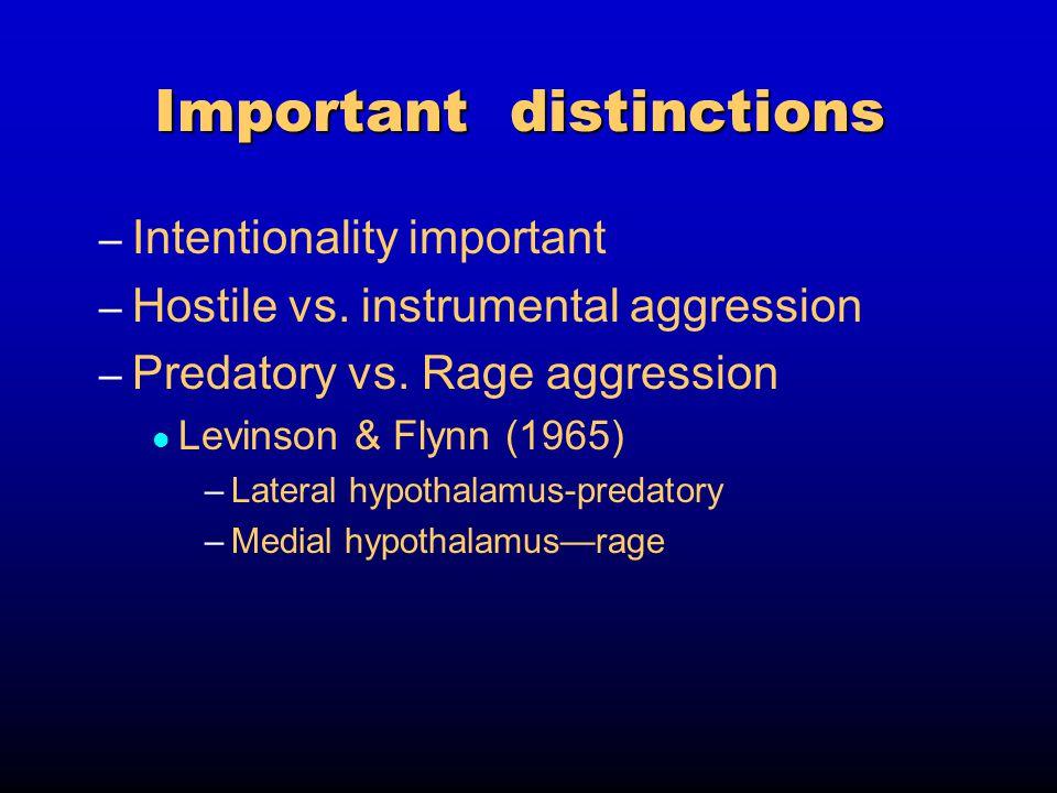 Important distinctions – Intentionality important – Hostile vs.