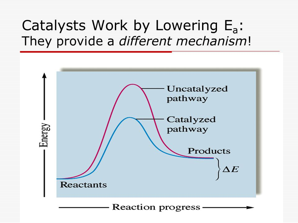 Catalysts Work by Lowering E a : They provide a different mechanism!