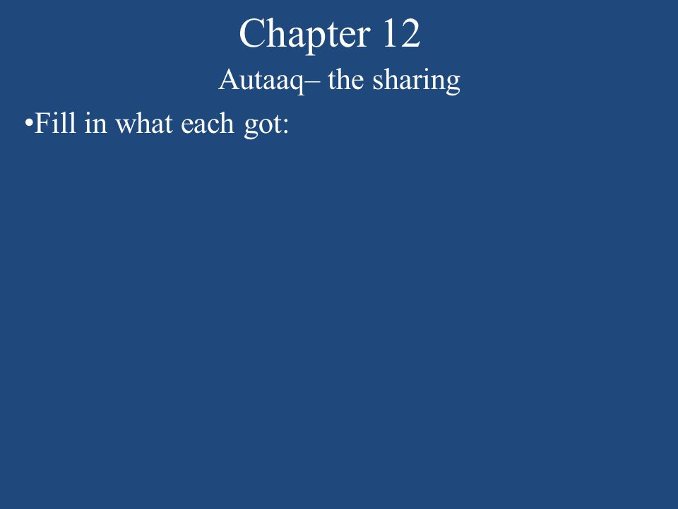Chapter 12 Autaaq– the sharing Fill in what each got: