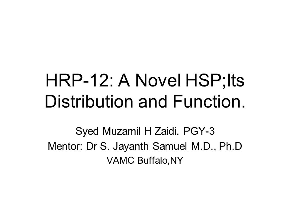 HRP-12: A Novel HSP;Its Distribution and Function.