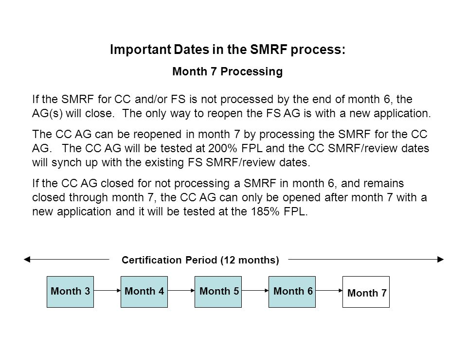 If the SMRF for CC and/or FS is not processed by the end of month 6, the AG(s) will close.
