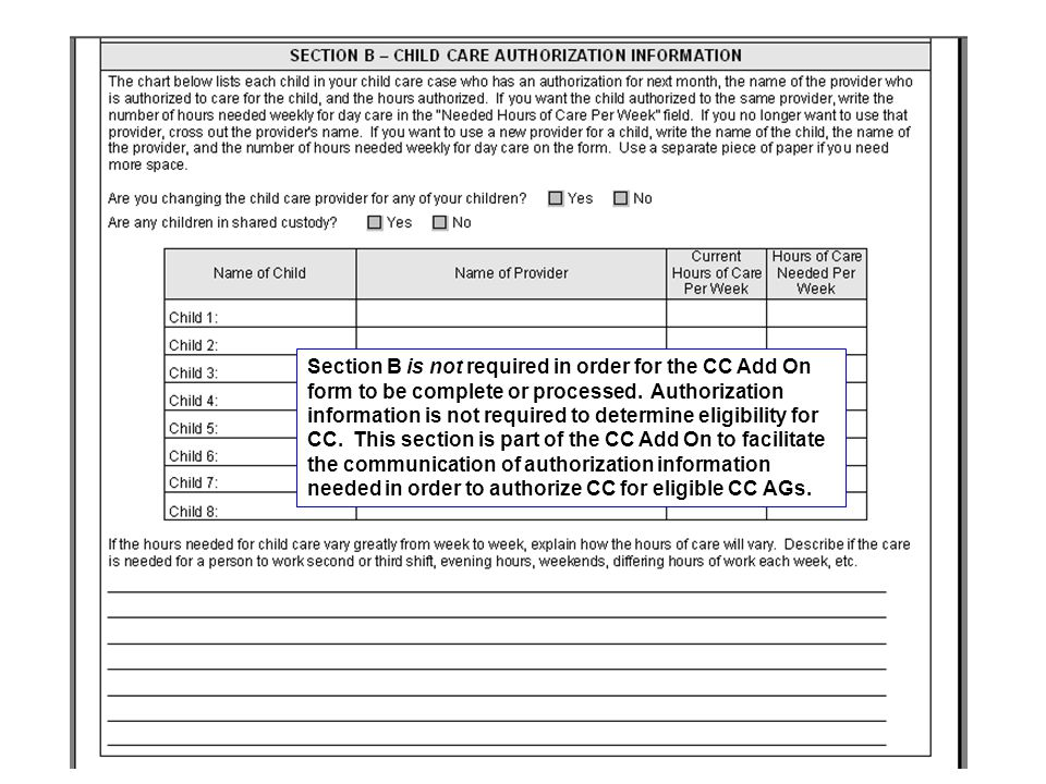 Section B is not required in order for the CC Add On form to be complete or processed.