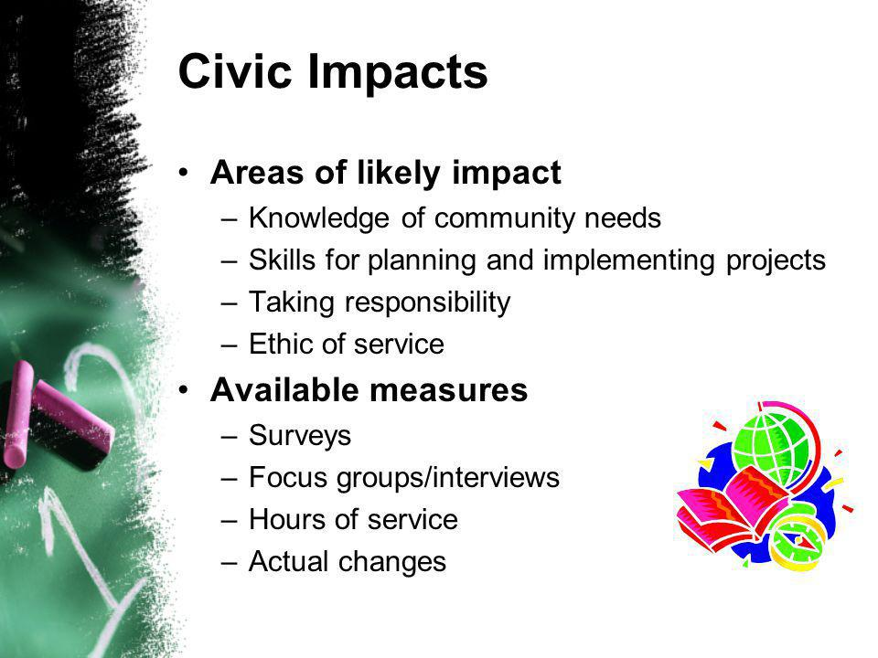 Civic Impacts Areas of likely impact –Knowledge of community needs –Skills for planning and implementing projects –Taking responsibility –Ethic of service Available measures –Surveys –Focus groups/interviews –Hours of service –Actual changes