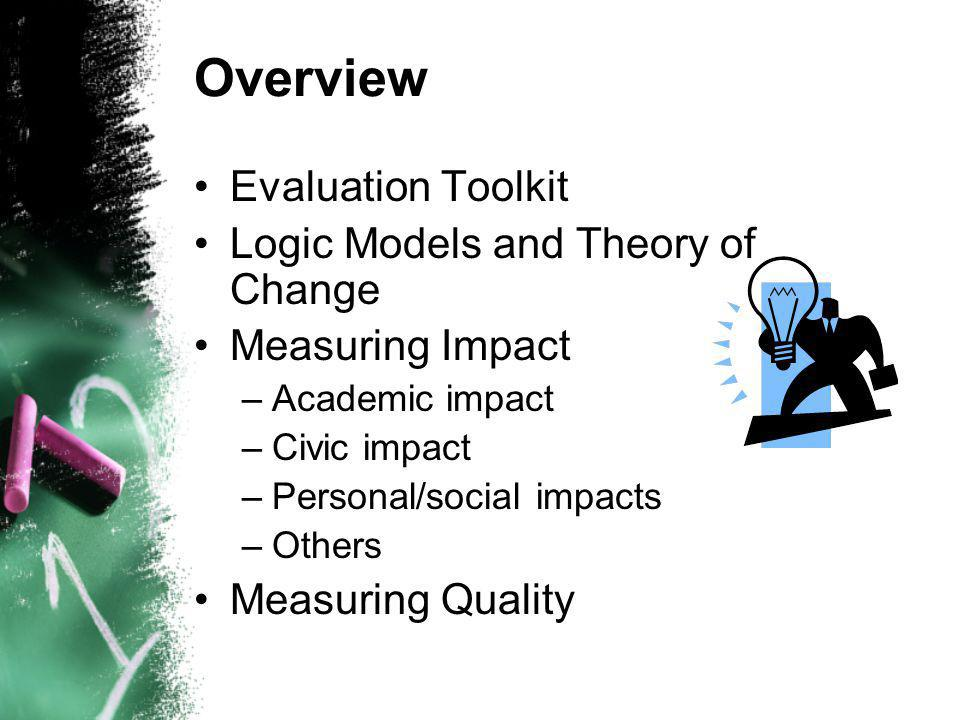 Overview Evaluation Toolkit Logic Models and Theory of Change Measuring Impact –Academic impact –Civic impact –Personal/social impacts –Others Measuring Quality