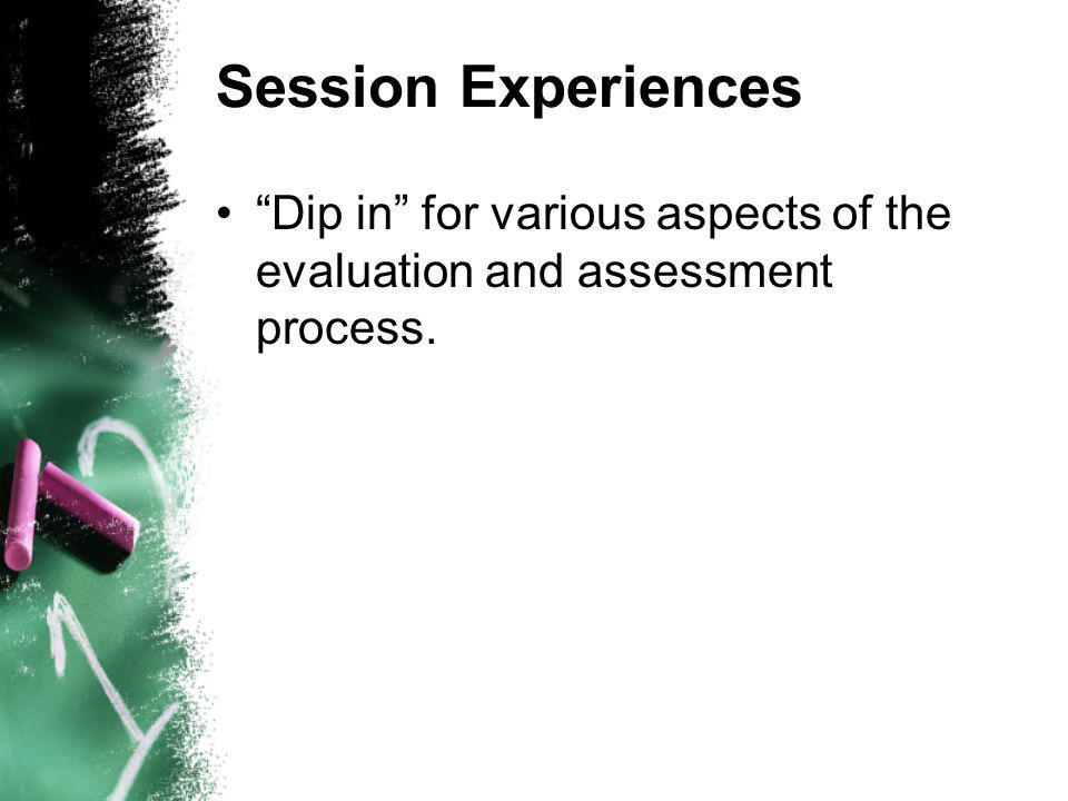 Session Experiences Dip in for various aspects of the evaluation and assessment process.