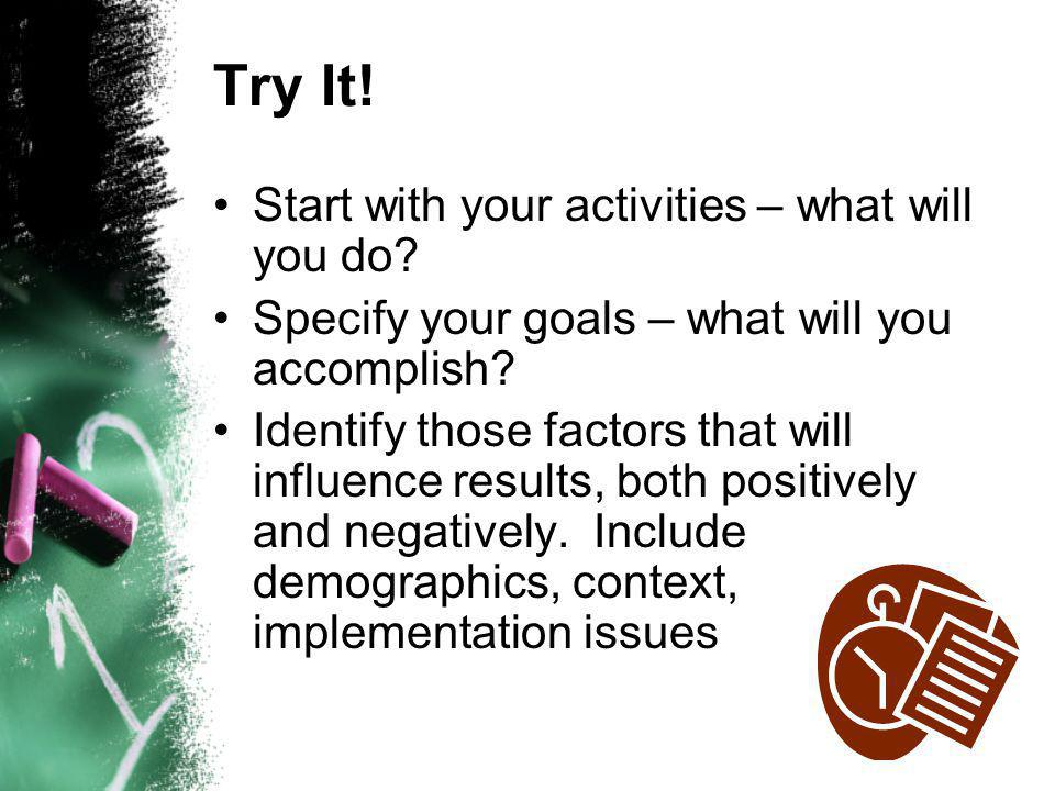 Try It. Start with your activities – what will you do.