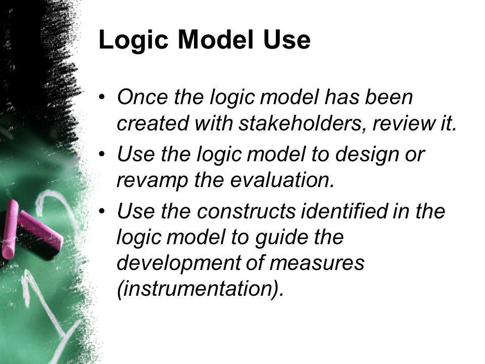 Logic Model Use Once the logic model has been created with stakeholders, review it.