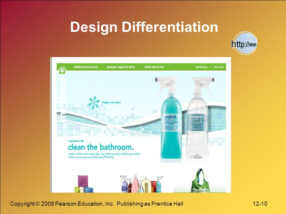 Copyright © 2009 Pearson Education, Inc. Publishing as Prentice Hall 12-10 Design Differentiation