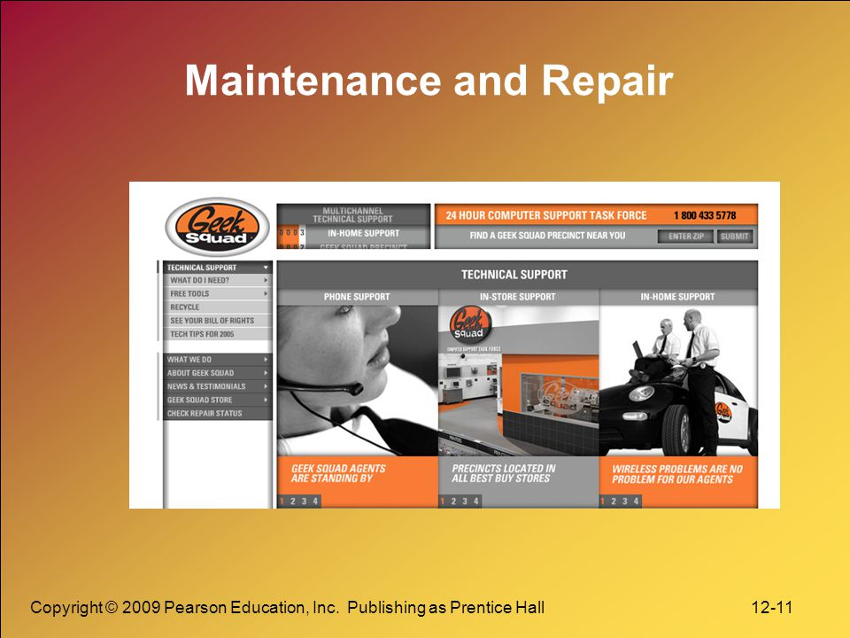 Copyright © 2009 Pearson Education, Inc. Publishing as Prentice Hall 12-11 Maintenance and Repair