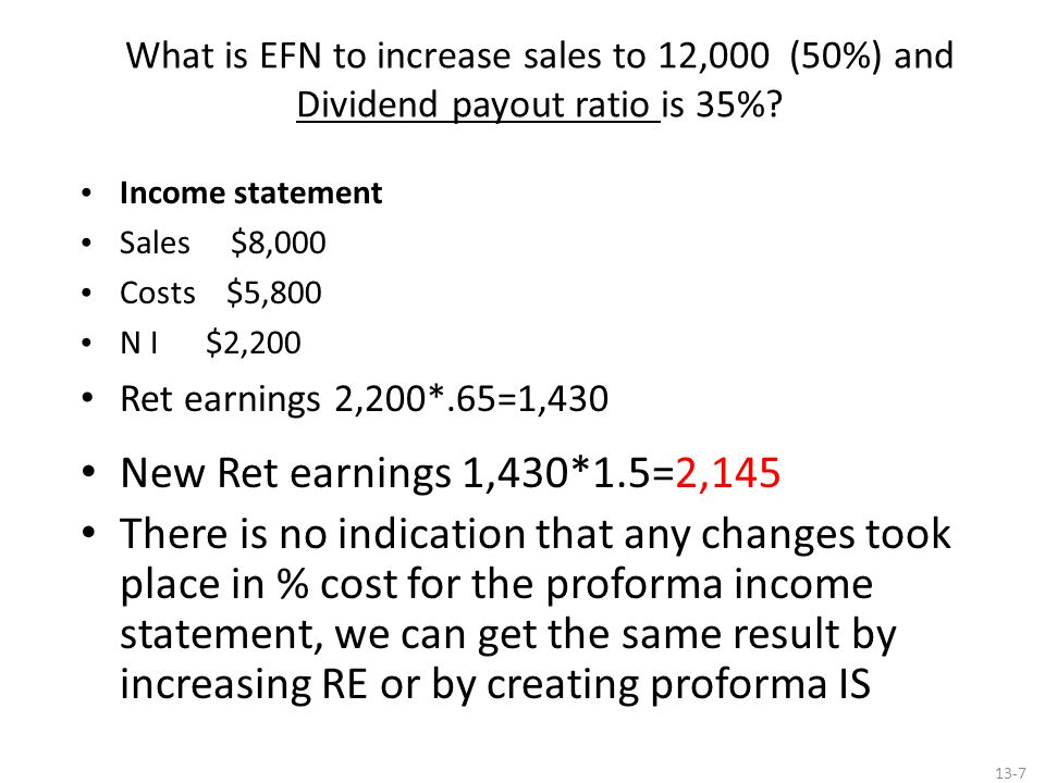 What is EFN to increase sales to 12,000 (50%) and Dividend payout ratio is 35%? Income statement Sales $8,000 Costs $5,800 N I $2,200 Ret earnings 2,2