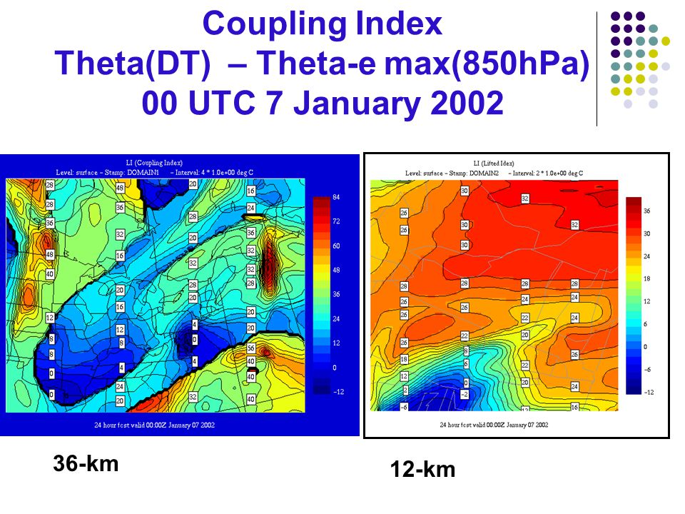 Coupling Index Theta(DT) – Theta-e max(850hPa) 00 UTC 7 January 2002 36-km 12-km