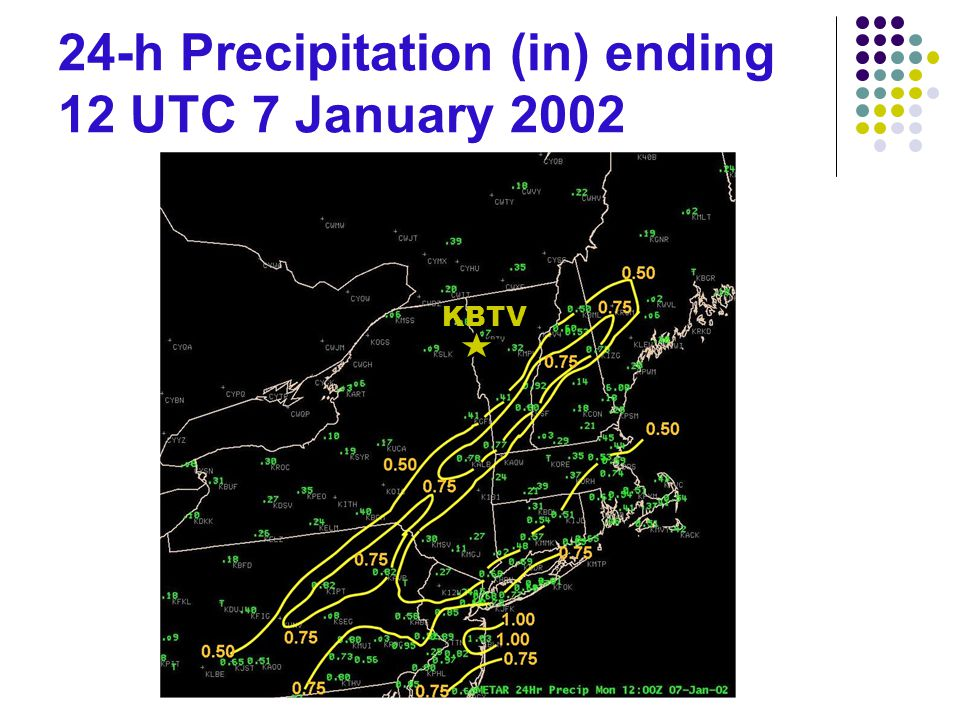 24-h Precipitation (in) ending 12 UTC 7 January 2002 KBTV