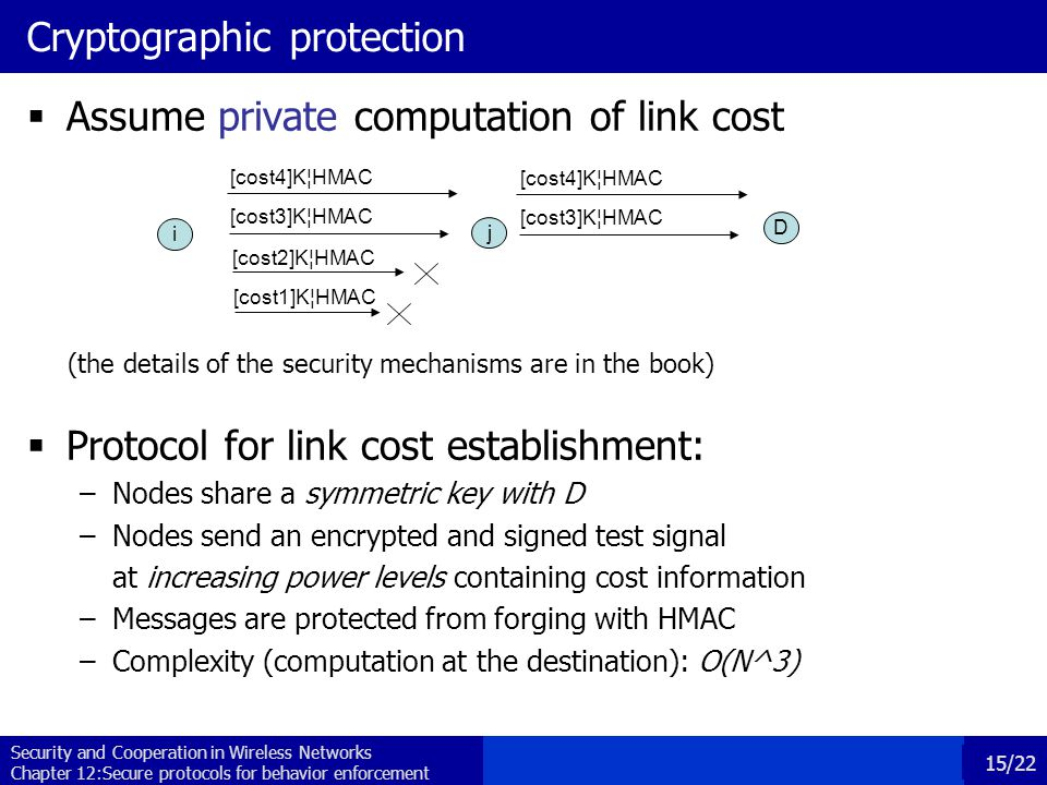 Security and Cooperation in Wireless Networks Chapter 12:Secure protocols for behavior enforcement 15/22 Cryptographic protection  Assume private computation of link cost (the details of the security mechanisms are in the book)  Protocol for link cost establishment: –Nodes share a symmetric key with D –Nodes send an encrypted and signed test signal at increasing power levels containing cost information –Messages are protected from forging with HMAC –Complexity (computation at the destination): O(N^3) i j [cost3]K¦HMAC D [cost2]K¦HMAC [cost1]K¦HMAC [cost4]K¦HMAC [cost3]K¦HMAC [cost4]K¦HMAC