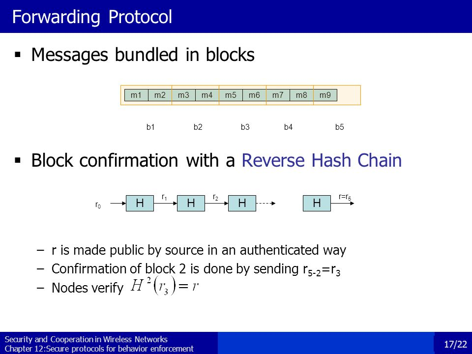 Security and Cooperation in Wireless Networks Chapter 12:Secure protocols for behavior enforcement 17/22 r1r1 Forwarding Protocol  Messages bundled in blocks  Block confirmation with a Reverse Hash Chain –r is made public by source in an authenticated way –Confirmation of block 2 is done by sending r 5-2 =r 3 –Nodes verify m1m2m3m4m5m6m7m8m9 b1b2b3b4b5 H r0r0 HH r2r2 r=r 5 H
