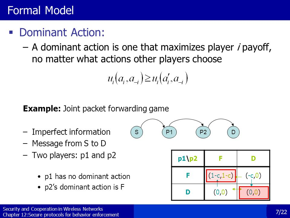 Security and Cooperation in Wireless Networks Chapter 12:Secure protocols for behavior enforcement 7/22 Formal Model  Dominant Action: –A dominant action is one that maximizes player i payoff, no matter what actions other players choose Example: Joint packet forwarding game –Imperfect information –Message from S to D –Two players: p1 and p2 p1 has no dominant action p2's dominant action is F SP1P2D p1\p2FD F(1-c,1-c)(-c,0) D(0,0)(0,0)(0,0)(0,0)