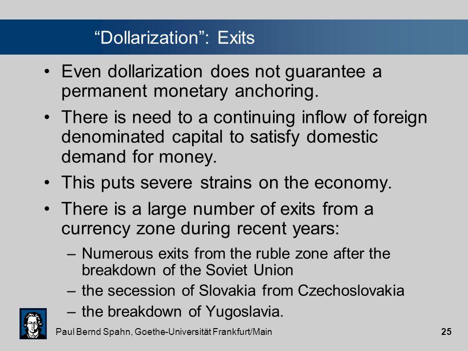 "Paul Bernd Spahn, Goethe-Universität Frankfurt/Main24 ""Dollarization"": Examples of countries"