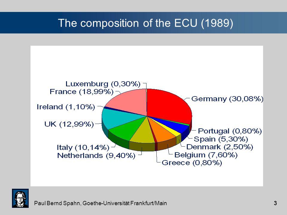 Paul Bernd Spahn, Goethe-Universität Frankfurt/Main3 The composition of the ECU (1989)